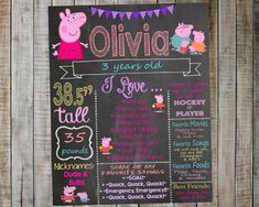 Peppa Pig Birthday Chalkboard / Peppa Pig by AudreyEdesigns