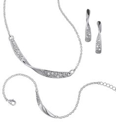 "Avon: Mona Twist 3-Piece Gift Set - Silvertone with rhinestones. Necklace, 16 1/2"" L with 3 1/2"" extender. Bracelet, 7 1/4"" L with 1"" extender. Pierced earrings, 3/4"" L. Regularly $29.99, buy Avon jewelry gift sets online at http://eseagren.avonrepresentative.com"
