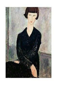 Giclee Print: Woman in Black Dress Art Print by Amedeo Modigliani by Amedeo Modigliani : 24x16in