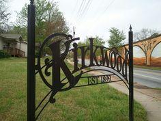 Kirkwoood Atlanta neighborhood sign Atlanta Neighborhoods, Farm Signs, Plasma Cutting, Iron Work, Small Towns, Garden Bridge, Beautiful Day, Signage, Entrance