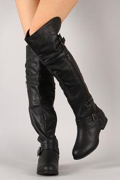 Wild Diva Lounge Tosca-78 Buckle Zipper Thigh High Boot