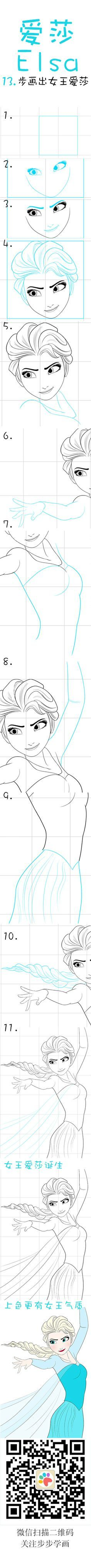 Learn how to draw Elsa from Frozen