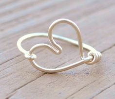 Valentine Wire Wrapped Ring HEART Love Romance. $13.00, via Etsy.