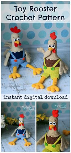 Toy Rooster crochet amigurumi pattern. Cute toy for a barnyard animal theme. Instant pdf downloadable pattern to make right away!. Love the overalls on these little chickens! #etsy #ad #crochet #pattern