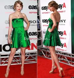 Taylor Swift Strapless Green Satin Short Red Carpet Dress Celebrity Style Red Carpet #taylor #swift