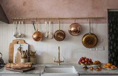 Vintage Kitchen Room of the Week :: Pink Plaster Walls in a Farmhouse Kitchen - coco kelley coco kelley - While this entire Room of the Week is stunning, the pink plaster walls and green thonet chairs had us at hello in this farmhouse kitchen dining room. Copper Kitchen, New Kitchen, Kitchen Dining, Copper Pots, Kitchen Rack, Dining Table, Rustic Kitchen, Green Kitchen, Kitchen Island