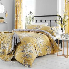 Catherine Lansfield Bedding Sets & Duvet Covers Home, Furniture & DIY King Duvet Cover Sets, Double Duvet Covers, Duvet Sets, Canterbury, Ochre Bedroom, Master Bedroom, Master Suite, Yellow Bedding, Floral Bedding