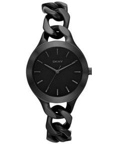 DKNY Women's Chambers Black Ion-Plated Stainless Steel Chain Bracelet Watch 36mm NY2219 | macys.com