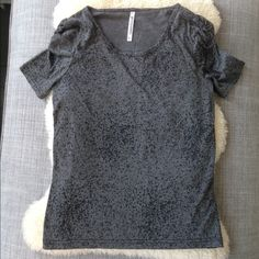 New Speckled Grey Top Charcoal grey with black specks. Rouched at sleeves and rounded neck. Made of rayon I think. Soft. Brand is Made In Korea, Best No. 1. Great staple piece. Bundle 3+ for 25% off  Tops