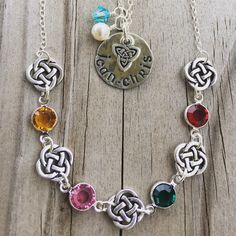 Birthstones and personalized jewelry! My custom birthstone necklace matches my custom birthstone bracelet and the Irish Trinity knot pendant can have the names of your children or grandchildren stamped on it ❤️☘️
