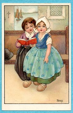 S9554 Florence Hardy postcard, Dutch Children sing   eBay