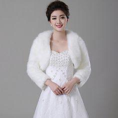 Wedding Faux Fur Boleros Long Sleeve Fur Wraps – USD $ 29.99