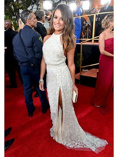 Lea Michele's sparkly halter is perfection. #GoldenGlobes