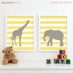 Modern Nursery Art Zoo Nursery Print, Safari Animal Kids Wall Art for Children Room Playroom, Jungle Baby Nursery Decor - Two 11x14