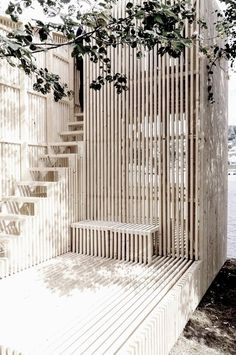 slatted wood garden construction...
