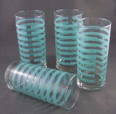 ce402ebd0be 4 of Turquoise Stripe Drinking Glasses 1930 1940 matched set Vintage