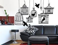Adesivi murali ... Gabbiette per uccellini ..