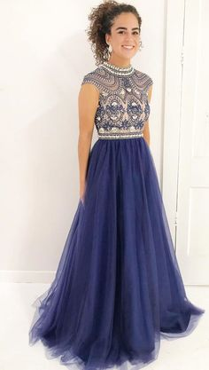 Stylish A Line High Neck Prom Dresses,Cap Sleeves