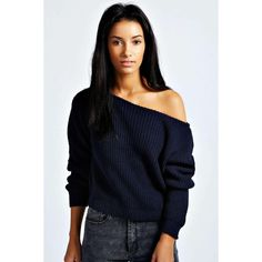 boohoo Ria Crop Slash Neck Waffle Knit Jumper - navy Were talking ...