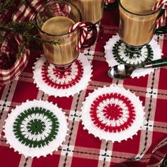 Twice-As-Merry Coaster Thread Crochet ePattern - Rest your holiday party glass… Crochet Placemat Patterns, Crochet Coaster Pattern, Crochet Dishcloths, Crochet Stitches Patterns, Thread Crochet, Crochet Motif, Crochet Doilies, Free Crochet, Knitting Patterns
