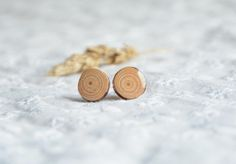 Minimalistic earrings natural wooden ear studs by MyPieceOfWood