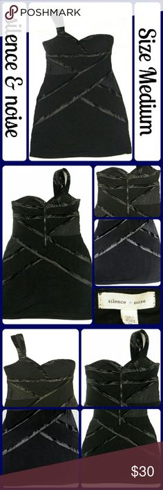 """Sz M SILENCE + NOISE HOT Dress Party/Evening/Club EUC, worn 1 time. No wear signs at all, no tears, stains, are stretch marks. This dress looks AMAZING on! It has  satin trim on the criss criss, on each side there is a faux mesh cut out to give a sexy illusion.  It doesn't get mush hotter than this dress! ZIPPER IN THE BACK``PADDED CUPS WITH NON SLIP TAPE , PIT TO PIT 16"""" WILL STRETCH UP TO 18"""" IF NEEDED, WAIST: 14-17"""", HIPS 17.5""""-20.5"""", TOTAL LENGTH 33"""" FROM THE SHOULDER TO THE HEM...Best…"""