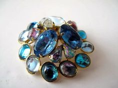 Vintage Dome Brooch with Blue Stones by mimiyaya on Etsy, $32.00