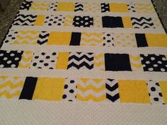 Baby Boy Quilt in yellow navy and white by JulianaMariesMom