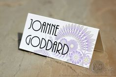Calabria place card using an art deco font - floral wedding stationery