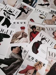 A pile of Vogue magazines. A pile of Vogue magazines. You can find Magazines and more on our website.A pile of Vogue magazines. A pile of Vogue magazines. Vogue Wallpaper, Fashion Wallpaper, Moda Wallpaper, Mode Collage, Aesthetic Collage, Classy Aesthetic, Aesthetic Vintage, Aesthetic Black, Photo Wall Collage