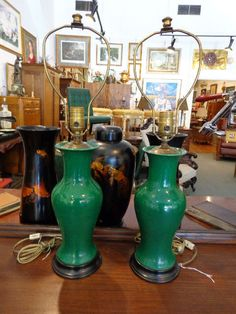 Pair Antique Chinese Export Urns Porcelain Dark Apple Green Table Lamps - Brass