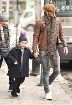 David Beckham Steps Out With Kids Wearing Kent & Curwen Jacket With Saint Laurent Jeans And Louis Vuitton Sneakers