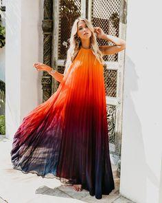 8a79b327774 Fiji Pleated Ombre Halter Maxi Dress - Sunset Plum Ombre Maxi Dress