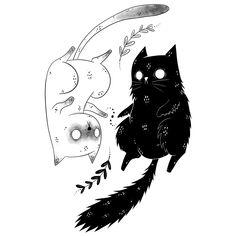 Yin and Yang Yin und Yang Tattoo Sketches, Tattoo Drawings, Art Sketches, Kunst Tattoos, Body Art Tattoos, Cat Tattoos, Small Tattoos, Hp Tattoo, Ankle Tattoos