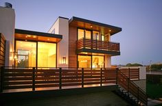 Others, Marvelous Contemporary House Exterior With Modern Balcony Design Also Minimalist Wooden Balcony Railings Also Wonderful Lighting Design Also Modern Exterior Wall Lights: Exterior Decoration of Balcony Design with Charming Balcony Railings Patio Railing, Balcony Railing Design, Wood Railing, Fence Design, Balustrade Balcon, Balustrades, Modern Balcony, Modern Deck, Outdoor Balcony