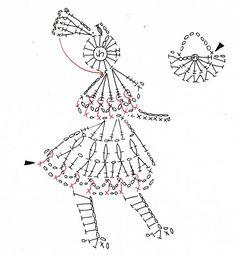 赤ずきんちゃんのモチーフ(編み図付き、赤頭きん、赤頭巾)の画像:Crochet a little