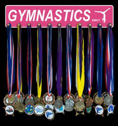 Gymnastics Medal Holders and Medal Hangers that can be personalized.