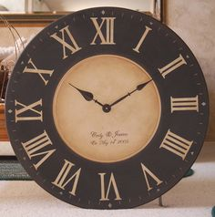 Large 30 inch Wall Clock Framed Antique Style Tuscan Black Gallery Personalized Big Round