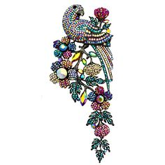 #Crystal #Parakeet #Flowers #Brooch Was £98.00 Now £49.00	 You Save: 50%