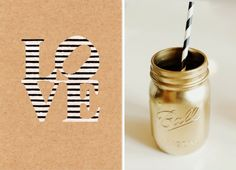 Bridal shower gold + black and white stripes = super chic + fun! Gold Mason Jars, Painted Mason Jars, Wedding Blog, Diy Wedding, Wedding Photos, Wedding Ideas, Archery Party, Cheap Vases, Gold Spray Paint
