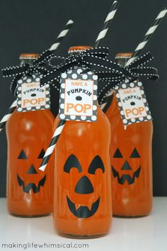 Use a sharpie or black vinyl on orange soda bottles. Add a party straw and this cute tag and you have Pumpkin Pop! www.makinglifewhimsical.com #pumpkin #halloween