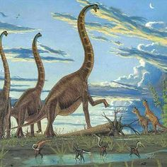 Gregory Paul loves using clouds to add to the composition of the scene. Love the way the three Brachiosaurs are arranged.