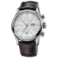 Oris Artelier Chronograph Silver Dial Brown Leather Mens Watch 77476864051LS ** More info could be found at the image url.