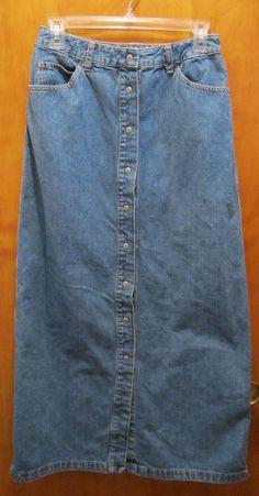 GAP Womens Size 8 Snap Front Long Denim Skirt Modest A-Line Country Western  #GAP #ALine #freeshipping #modest