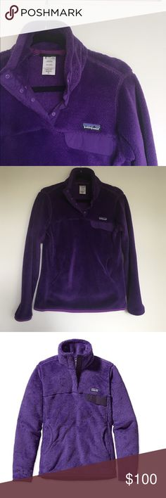 "Patagonia Re-Tool Snap T-Fleece Pullover Excellent condition- only wore a handful of times. This particular shade of purple is old and difficult to find! Super cozy for winter... honestly the softest thing in my closet, I just don't wear it since it's a tad snug on me! Women's size medium. Color is ""Violetti/Tempest Purple X-Dye"". Reasonable offers welcome. No trades. (Sorry for bad lighting in second photo!) Patagonia Sweaters"