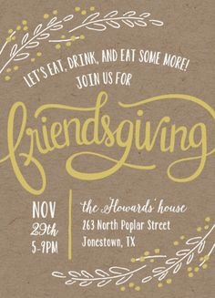 "Rustic Digital Thanksgiving Invite. ""Friendsgiving Wreath"" by Laura Hankins now available on Minted.com"