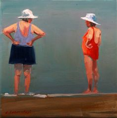 "Love this painters ""Boston ladies"" - they are my favorites on the beach at the Cape © carol carmichael Matisse, Joan Miro, Beach Scenes, Beach Art, Old Women, Painting Inspiration, Painting For Kids, Watercolor Art, Folk Art"