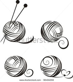 set of yarn balls with needles isolated on White background. Vector illustration - stock vector