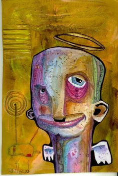 """forever"" anthead 8X11 recycled cardboard outsider graffiti folk art lowbrow #OutsiderArt"