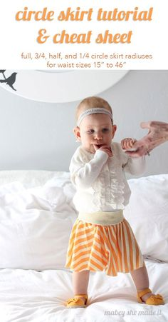 Use this circle skirt cheat sheet for making baby to adult circle skirts without having to do the math. :):